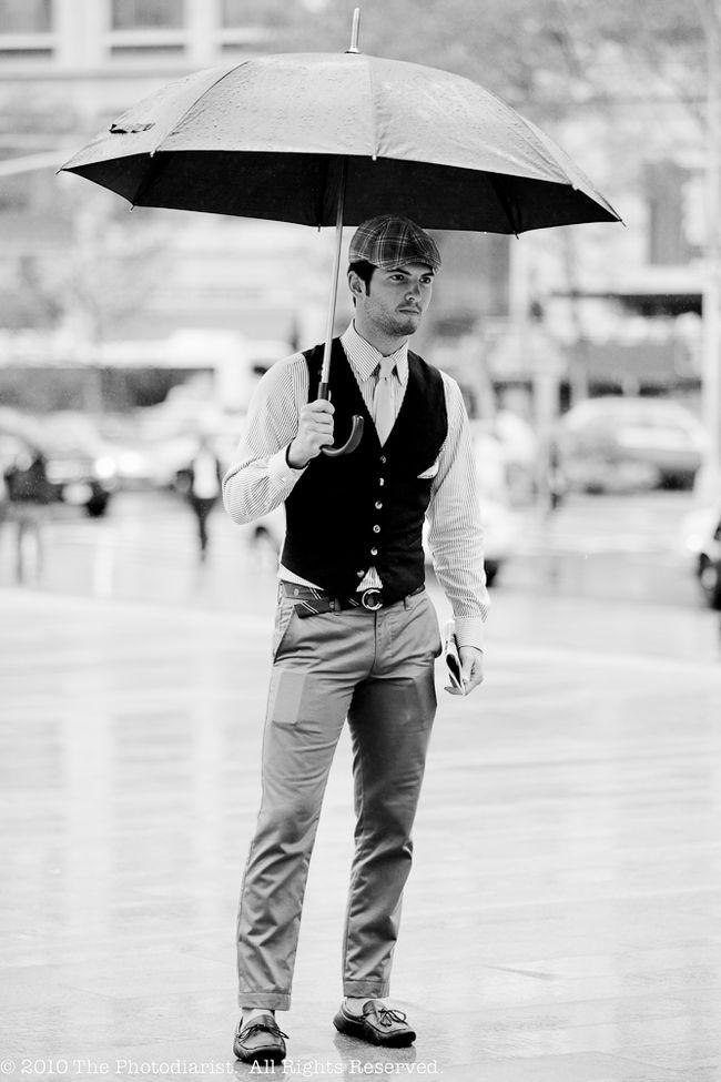 DAPPER DUDE IN THE RAIN