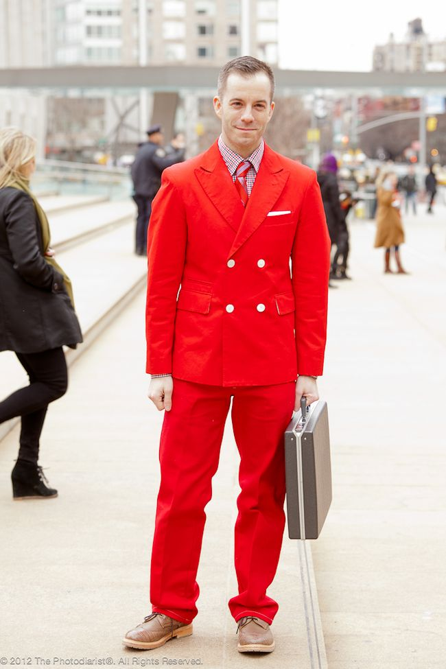 AT NEW YORK FASHION WEEK- RED SUIT