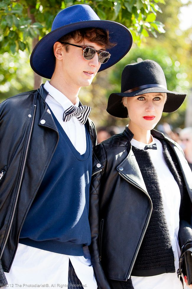 AT PFW- BLACK AND NAVY