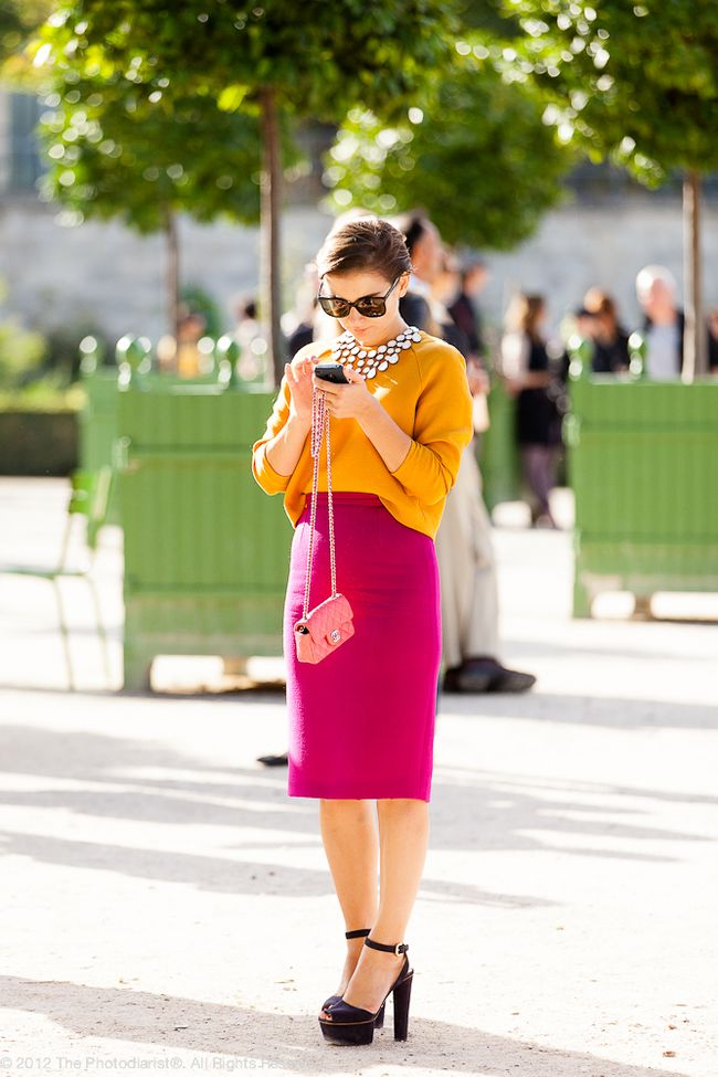 AT PFW- GOLD AND FUCHSIA
