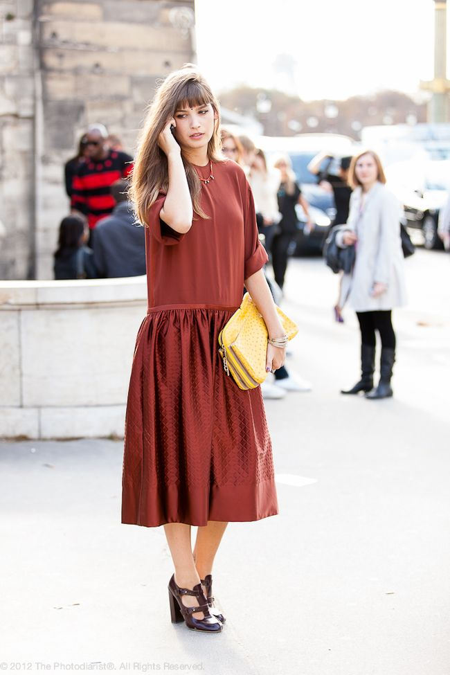 AT PFW- RUST DRESS
